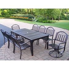 Wrought Iron Patio Dining Set Shop Oakland Living Rochester 9 Hammer Tone Bronze Iron