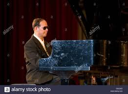 Blind Pianist A Disabled Blind Without Vision Asian Man Wearing Sunglasses Is