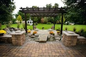 small backyard patio paver ideas brick patio with fire pit design