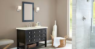 what color goes with brown bathroom cabinets brown bathroom ideas and inspiration behr