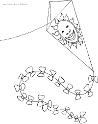 kite color free printable coloring sheets kids