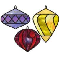 3 drop ornaments no top stained glass tree ornament