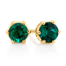 emerald stud earrings stud earrings with created emerald in 10kt yellow gold
