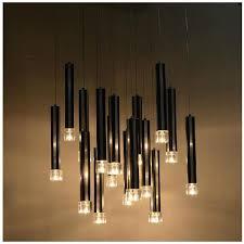 black crystal pendant light w22 x h49 dining room pendant light modern 16 pcs black aluminum