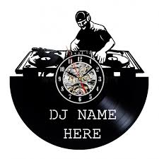 Personalized Anniversary Clock Unique Dj Name Design Vinyl Record Wall Clock Gift Personalized