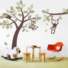 Nursery Monkey Wall Decals Three Monkey Tree Decal With Branch Vine