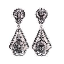 s jewelry fashion bohemia ethnic vintage ear flower silver plated earrings