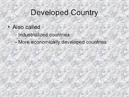 what country makes developed vs developing countries