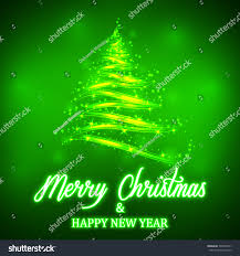 shiny green christmas tree neon merry stock vector 705829411