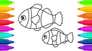 how to draw fish coloring pages animals sea creatures nursery