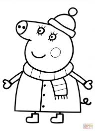 cute winter coloring pages mummy pig in winter suit cartoon coloring page cartoon cute
