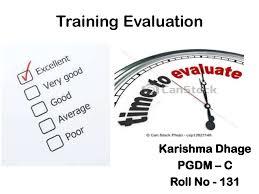evaluationtraining evaluation how training works training