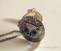 box lockets blue eye owl pendant necklaces photo frame box lockets