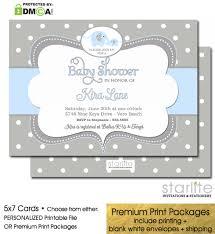 elephant baby shower invitation boy baby blue grey polka dots