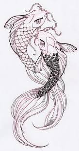 drawn koi fish outline pencil and in color drawn koi fish outline
