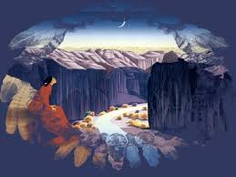 river moon river scenery canyon native american painting art