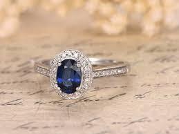 verlobungsring vintage myray natürliche echte oval blue sapphire diamant band vintage