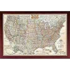 us map framed framed us map united states usa us vintage wall map
