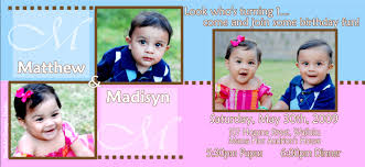Baby 1st Birthday Invitation Card Twins First Birthday Invitations U2014 Liviroom Decors Simple Twin