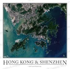 printable maps hong kong hong kong shenzhen satellite map print aerial image poster