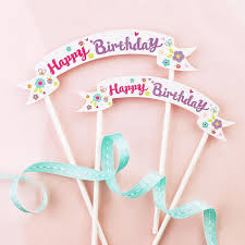 3pcs happy birthday flag cake cupcake topper paper straw with flag