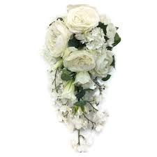 white bouquet cascading teardrop shower bridal bouquet wedding