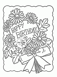 cute birthday card coloring page for kids holiday coloring pages