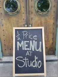 half price restaurant half price menu at the studio restaurant on rocky neck today