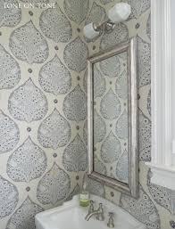 Powder Room Wallpaper by Tone On Tone Powder Room Renovation