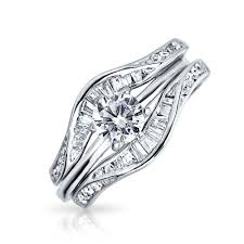 wedding ring set baguette cz engagement wedding ring set with guard sterling