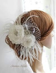 wedding white rhinestones feathers fascinator large bridal flower