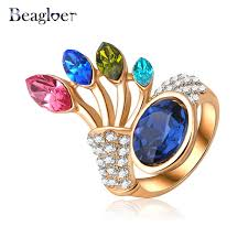 aliexpress buy beagloer new arrival ring gold beagloer new arrival exquisite flower ring gold color colorful