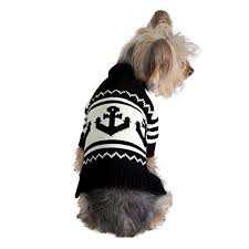 Stinky G Anchor Dog Sweater Navy Blue 16 XL