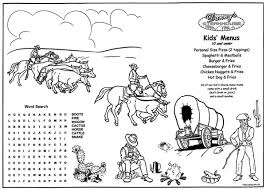 coloring placemats western restaurant kids menu steak house west children s
