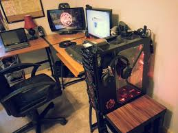 Gaming Desk Setups by Desk L Shaped Desk Gaming In Impressive Cool Computer Setups And