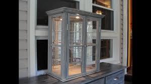 reclaimed wood curio cabinet rustic barn wood curio cabinet youtube
