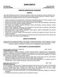 Warehouse Resume Objective Warehouse Manager Resumes Warehouse Manager Cover Letter