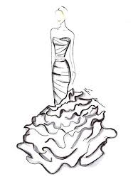 drawn sketch black wedding dress pencil and in color drawn
