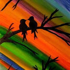 Paint Colorful - love bird painting colorful bird art bird from preethiart