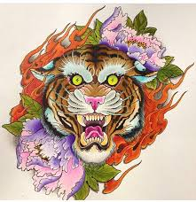 flowers and tiger designs