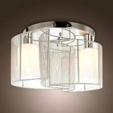 Fluorescent Light Covers Fabric Volume Lighting 3 Light Ceiling Fixture Semi Flush Mount Modern