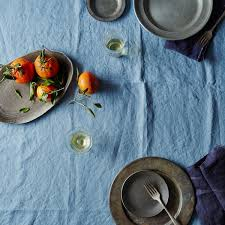 blue linen tablecloth on food52