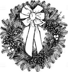 Holiday Wreath Holiday Wreath In Ink Stock Vector Art 165925014 Istock