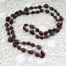 natural bead necklace images Brown nut and seed bead necklace very long and modern natural jpg