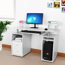 Schreibtisch Ausfahrbar Songmics Computertisch Schreibtisch Bürotisch Mit Schubladen Und