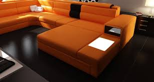 Modern Leather Sectional Sofa Model Polaris 5022 Orange Contemporary Leather Sectional Sofa