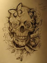 skull roses and butterflies tattoos butterfly