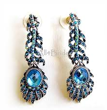 peacock feather earrings bridal blue rhinestone peacock feather earrings peacock weddings