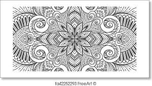 Pattern Ottoman Free Print Of Asian Ethnic Floral Retro Doodle Black And White