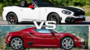 fiat spider white fiat 124 spider abarth vs alfa romeo 4c youtube